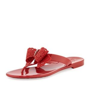 7b2811b890a2 Salvatore Ferragamo Shoes - Ferragamo Pandy Bow Jelly Thong Sandal Rosso Red
